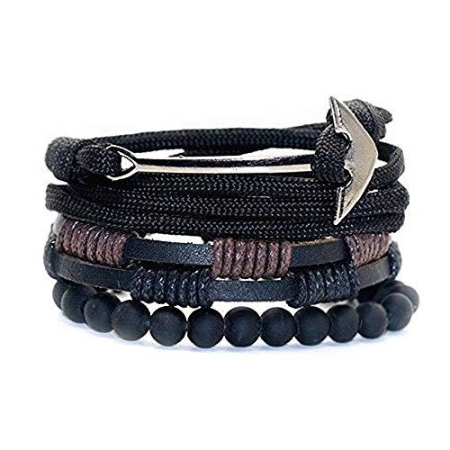 M3N Armband-Set Verstellbar Schwarz 3 Armbänder Anker Perlen Leder Herren Damen Unisex