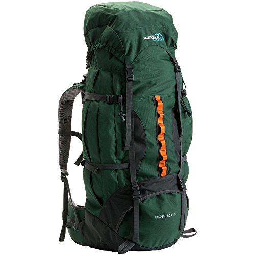 skandika Eiger 80+10 Liter Trekking-Rucksack mit verstellbarem Tragesystem, Signalpfeife und integrierter Regenhülle (grün)