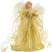 WeRChristmas Angel Decoration Christmas Tree Top Topper with Feather Wings, 30 cm - Gold