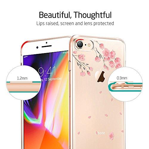 ESR iPhone 8 Hülle, iPhone 7 Hülle, Transparent [Weich Silikon][Ultra Dünn] mit süßes Motiv Schutzhülle [Kabelloses Aufladen Unterstützung] für Apple iPhone 8/7 4.7 Zoll 2017 Freigegeben. (Kirschblüte Kirschblüte