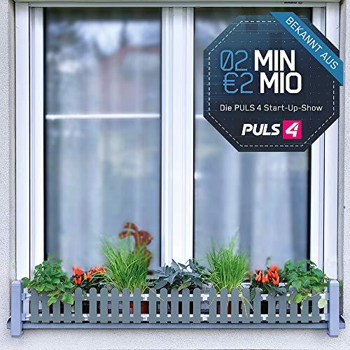 Masu Fensterbank Blumenkasten signalgrau Begrünung Balkon Kräutergarten urban Gardening Raumbegrünung variabel von 78 cm bis 130 cm | 2 Minuten 2 Millionen | Powered by Mediashop