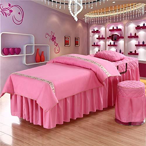 XUESUNSS Volltonfarbe Beauty-Bett-Abdeckung, Premium Massage Tisch Tabelle Sets Massage Salon Bettdecke Bettdecken Mit Gesicht Rest-rosa 60x175cm(24x69inch) (Massage-tabellen-rosa)