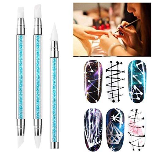 Nail Art Blue Diamond Set mit 3 Stück Doppel-End-Silikon-Stift ()