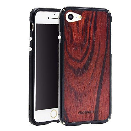 Funda iPhone 7, Funda iPhone 8 Carcasa, SHOWKOO Metálico Aluminio Marco Madera...