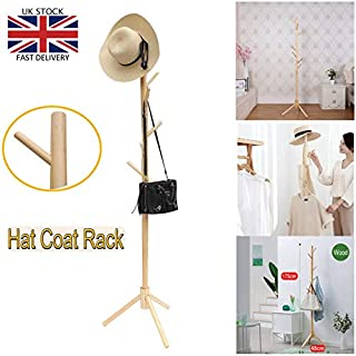 Wooden Coat Hat Stand Tree-Shaped Display Clothes Stand with 3 Tiers 8 Hooks Free Standing Hanger Hall Tree for Foyer Office Bedroom