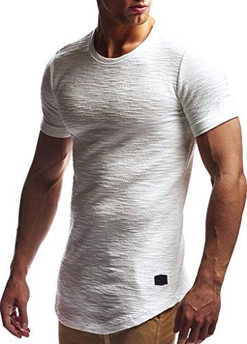 LEIF NELSON Herren Sommer T-Shirt Rundhals-Ausschnitt Slim Fit Baumwolle-Anteil | Moderner Männer T-Shirt Crew Neck Hoodie-Sweatshirt Kurzarm lang | LN6324 Ecru M -