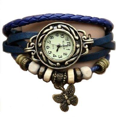 Bleu papillon Montre - Bracelet cuir - Wrap Around- Quartz