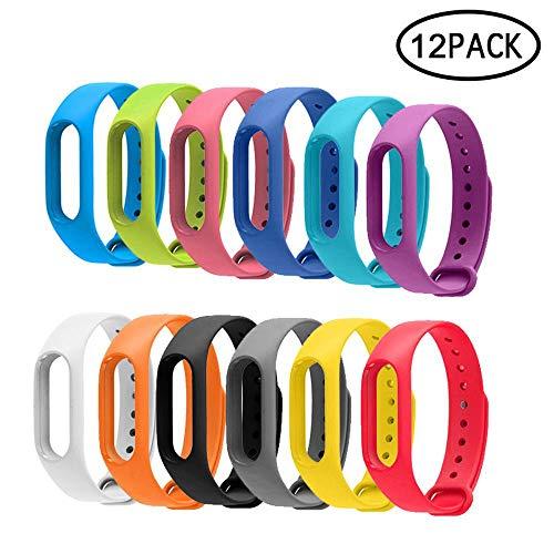 Aolvo, cinturini di ricambio Veryfit, confezione da 12 pezzi, Ip67, cinturini in gomma termoplastica TPE, flessibili, colorati, cinturini di ricambio per Xiaomi Mi Band 2