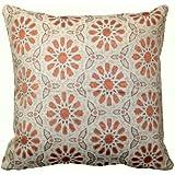 "Marroquí lujo funda Jacquard seda Geometric Pattern Tiles cojín funda de almohada–naranja y dorado–18""x 18"""