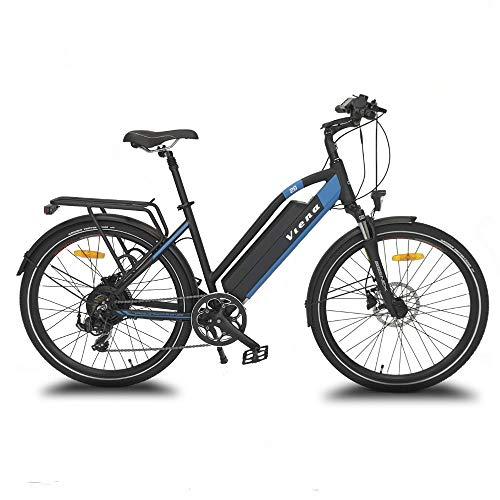 URBANBIKER vélo électrique VTC VIENA (Bleu 26'), Batterie Lithium-ION Samsung 840Wh (48V et...