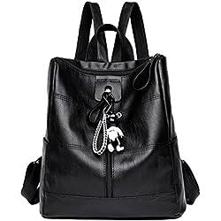 Dexinx Mochilas Mujer Cuero Casual Bolsos de Viaje Bolsa de Hombro Escolar Daypacks con Bear Colgante Negro