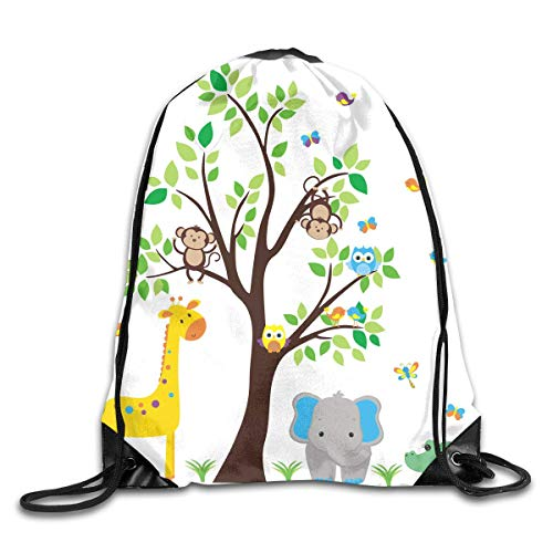 HLKPE Kids Decor Children Nursery Room Safari Cartoon Animals Art Print Drawstring Bag for Traveling Or Shopping Casual Daypacks School Bags - Safari Room Decor