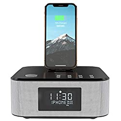 AZATOM Homehub Clock RADIO with Lightning Dock Alarm 30W Bluetooth for iPhone X, 8, 8 plus, 7plus, 7, 6s, 6, 5s, 5, SE Nano 7G, Touch 6G 5G , iPad mini and iPads, Black