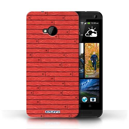 Kobalt® Imprimé Etui / Coque pour HTC One/1 M7 / Rouge conception / Série Motif Bois Rouge