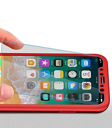 iPhone X Hülle,iPhone X 360 Grad Hülle,SainCat Hart PC Hülle mit Gehärtetes Glas Handyhülle für iPhone 8 Plus/7 Plus [Thin Fit 360] Komplettschutz Front + Back Rundum Double Beidseitiger Schutzhülle R Rot