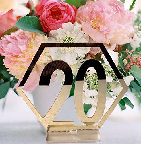 Tischnummern, niCWhite 1-20 Hochzeitstischnummern aus Acryl mit Halterung, Party-/Kartenhalter, sechseckige Form, perfekt für Hochzeitsempfang und Dekoration 11cmx9.7cmx0.3cm gold