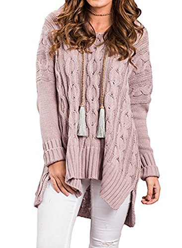 BLACKMYTH Femme Casual V-cou Sweaters Manches Longues Tops Tricot Pull Rose