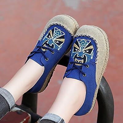LJYBX Frauenschuhe Volk-Gewohnheit alte Peking-Stoffschuhe Stroh Segeltuchschuhe Flach Niedrige Hilfe Weicher Boden Stickereiblume Flachs Einzelne Schuhe