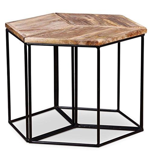 vidaXL Table Basse de Salon Bois de Manguier Massif 48x48x40 cm Table d'Appoint