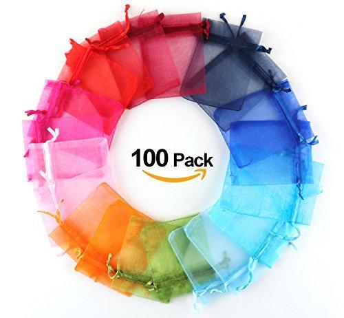 Organzasäckchen 100x Organzabeutel 10farbig Schmuckbeutel Absofine Organza Säckchen Hochzeit Geschenk Mitgebsel mehrfarig Heiraten Fest Party 7 X 9cm