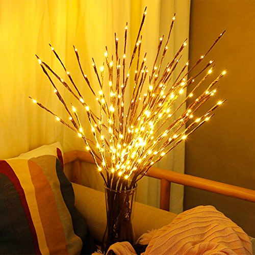 Ramoscelli luci a led luci di fiabe rami di salice lampada autohigh bianco caldo luci decorative colorate interni luci da fata per feste decorazione a batteria (bianco caldo, confezione da 2)