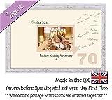 70. Platinum Hochzeitstag Unterzeichnung Gastgeschenk Bilderrahmen, 7x 5695d Shabby Chic Frame Cream Mount Beige Inside