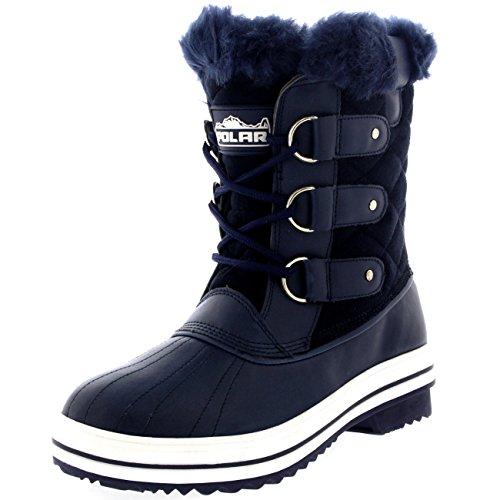 Damen Schnee Stiefel Nylon Short Schnee Pelz Regen Wasserdicht Stiefel - Marine Wildleder - NAS40 AYC0022