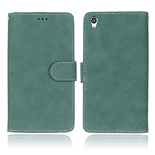 Hozor Sony Xperia Z5 Premium / Z5 Plus Vintage Gebürstetem Ledertasche, Hochwertiges PU Leather-Material, Magnetverschluss, mit [Kartensteckplatz] [Brieftasche Schlitz] [Foto Slot] [Handyhalter]