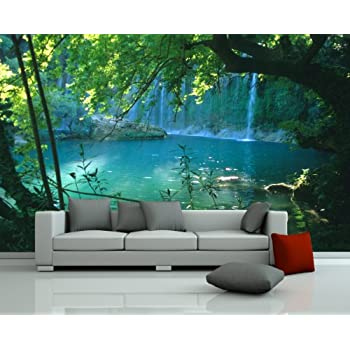 1wall stunning green forest green trees and sunrise. Black Bedroom Furniture Sets. Home Design Ideas