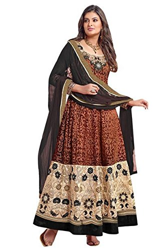 Vibes Women's Pure Georgette Anarkali Style Un Stitched Salwar Kameez(V157-1204_Brown)