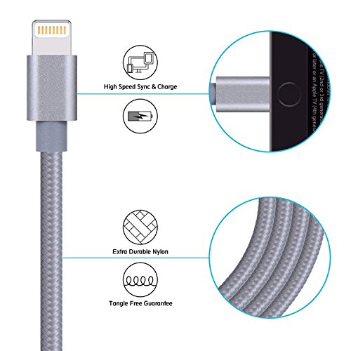 Cavo iPhone, Auspisa 2pcs-3 M extra lungo cavo Lightning 8 pin a USB cavi di ricarica per iPhone se/7/7PLUS/6/6S/6 Plus/6s Plus, C/5S/5, iPad Pro/Air/Mini, iPod Nano/Touch (Oro + Nero) 123M-Grigio