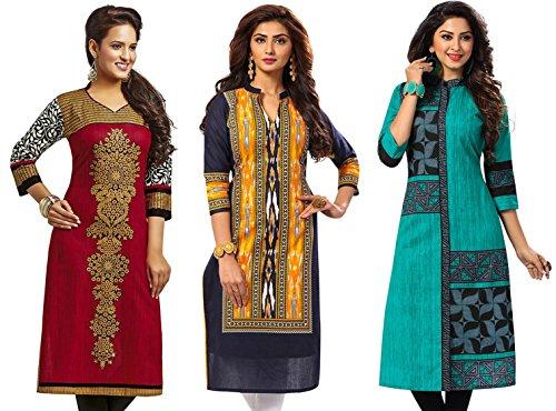 Jevi Prints Women's Kurti Fabrics (Pack Of 3) (Saheli-1225-1502-1512_Multi-Coloured)