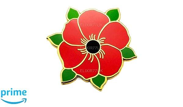 Britishpaper New Red Poppy Flower Lapel Pin Enamel 111111 Badge