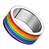 Vnox Anello gioielli 9 millimetri Gay Lesbiche LGBT in acciaio inossidabile in gomma Wrap Arcobaleno Orgoglio aggancio di cerimonia nuziale Banda