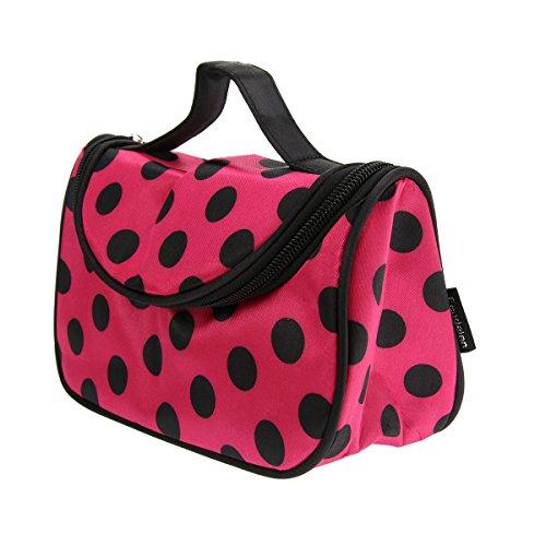 Tinksky Mode Polka Dots Muster Womens Reißverschluss Kosmetik Make-up Tasche Toiletry Bag Handtasche Reiseveranstalter (schwarz + rosarot) (Mode-taschen Womens)