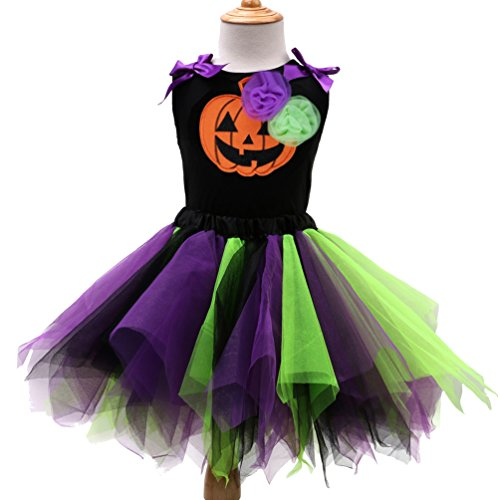 Sronjn Mädchen Ärmellos Kinder Kleid Halloween Karneval Kostüm festlich Partykleid Cosplay Kostüme Kleidung Festzug Stil 4 S