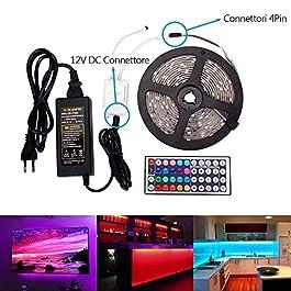 5M Striscia LED Impermeabile IP65 RGB SMD 5050 300 led 12V + 44 Tasti Telecomando & Alimentatore + Ricevitore e Connettori