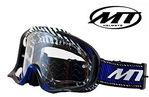 Motorrad MT MX PRO III Erwachsene Skibrille Motorradhelm Motocross Enduro Moto Off Road X Schutzbrille (Schwarz/Blau) (Pro Goggles Racing)