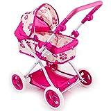Dominiti Puppenwagen mit Flüsterreifen (Blume/pink)