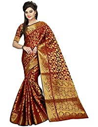 Blissta Women's Banarasi Cotton Blend Saree With Blouse Piece (SSC403_Red_Red)
