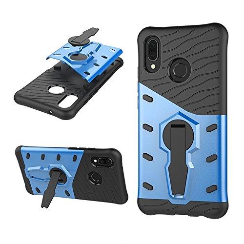 Phone Hülle Cover, Für Huawei P20 Lite, 360 Grad Spin Rüstung TPU + PC Fall für Huawei P20 Lite mit Halter (Color : Blue)