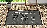 Fußmatte 'Willkommen' Inkl. Ihrer Namen - Personalisierte Schmutzfangmatte, Fußmatte:60 x 40 cm