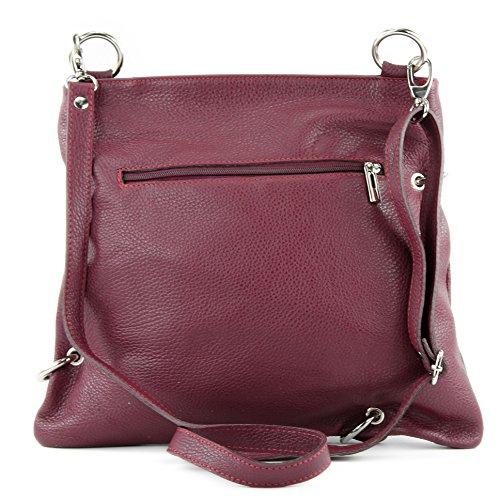 modamoda de -. cuoio ital Borsa da donna Messenger bag borsa a tracolla in pelle borsa NT07 2in1 Bordeauxrot