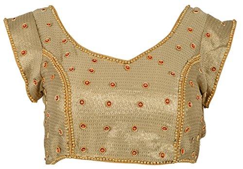 Nishtha Creation Women'S Brocade Saree Blouse (Ba004--34_Gold_34)