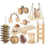 HR-COME - 10pcs / Pack - Ensemble De Jouets à Mâcher en Bois pour Hamster - Accessoire De Jeu en Bois pour Animaux Domestiques à Rouleaux D'haltères