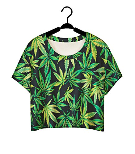 Pretty321 Women Girl Lovely Green Leaves Maple 3D Cute T shirt Crop Top Sexy Blouse Amazon