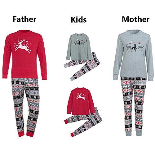 Weihnachten Schlafanzug Familien Outfit Mutter Vater Kind Baby Pajama Langarm Nachtwäsche Print Sleepwear Casual Rundkrage Xmas Deer Print T-Shirt Oberteile Tops+Lang Hose Set 2Pcs von ()