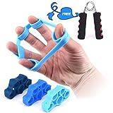 Kindax 3Pcs Finger Stretcher Elastici Per L'allenamento delle Dita Plus 1 Hand Grip Pinza Mano Kit Perfetto Per Rinforzare Dita, Polso e Avambraccio