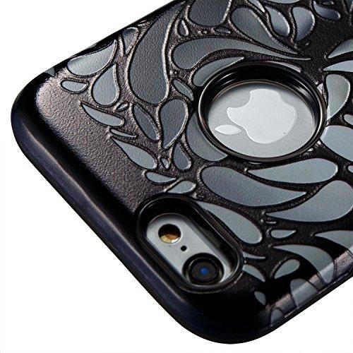 iphone 6s Hülle Schwarz Muster,Silikon Bumper für iPhone 6,Ekakashop Ultra Thin Modisch Luxuriös 2 in 1 Feder-Schädel Design Dual Layer TPU Silikon Defender Shockproof Protective Schutzhülle Fallschut Schädel-Ebene