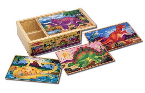 Melissa & Doug - Dinosaurios, 4 rompecabezas de madera (13791)